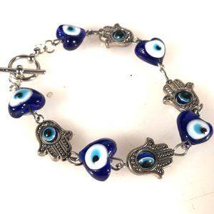 Hamza Hamsa Blue Glass Bracelet Hand Link Handmade